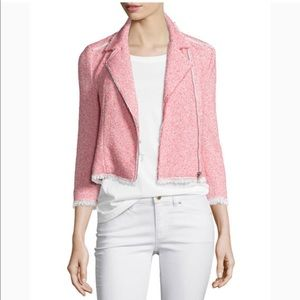 Rebecca Taylor Summer Pink Tweed Crop Moto Jacket